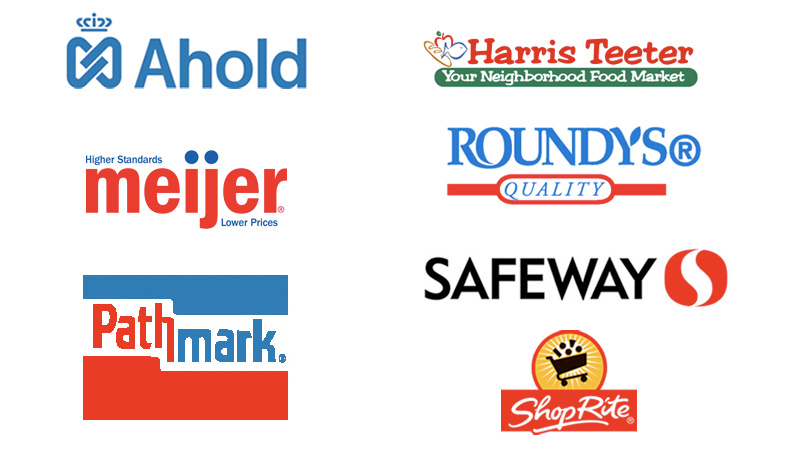 Retailers we've worked with include Ahold, Safeway, Meijer and more